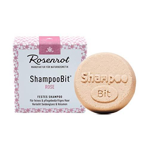 Rosenrot Naturkosmetik - ShampooBit® - festes Shampoo Rose - 55g - Für feines & pflegebedürftiges Haar. Verleiht Seidenglanz & Volumen.