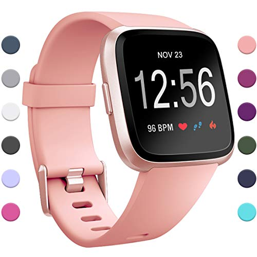 Maledan Replacement Bands Compatible with Fitbit Versa for Women Men, Classic Accessories Wristbands Strap Band for Fitbit Versa Smart Watch, Blush Pink, Large