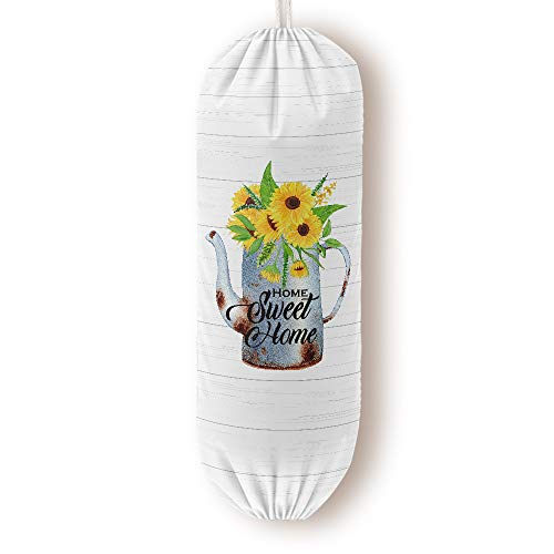 Farmhouse Grocery Bags Dispenser Decor for Plastic Garbage Bags Shopping Bags Holder Carrier Storage Organizer Container Great Gift for Women Mother Grandma Wife Sunflower Home Sweet Home