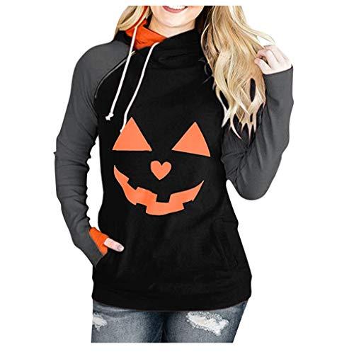 GOKOMO Damen Langarm Plus Size Halloween Hexe Print Hoodie Sweatshirt Bluse Topsdamen KüRbis Sweater Top(Orange,X-Large)