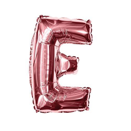 Oblique Unique® Folien Luftballon alle Buchstaben Alphabet ABC Herz Stern in Roségold für Geburtstag Jubiläum Schuleinführung JGA Hochzeit Baby Shower Party Deko Folienballon - wählbar (Buchstabe E)