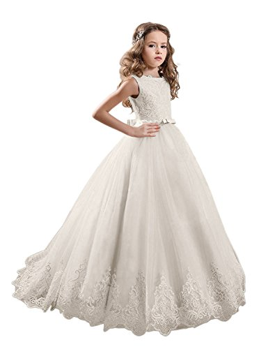 KissAngel Ivory Long Lace Flower Girl Dresses Champagne Less Party Dress (4, Ivory All)