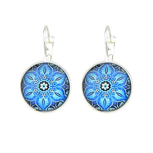 Feelontop® Blaue Blume Muster Zeit Edelstein Ethnische Vintage Bronze Silber Runde Creolen mit Schmuck Tasche (Silber)