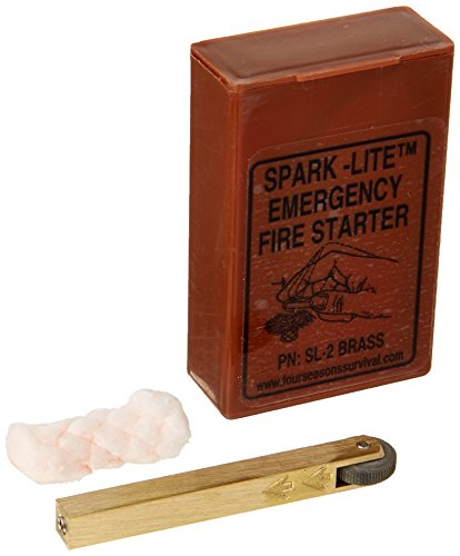 Four Seasons Survival Brass Spark Lite Aviation/Military Survival Fire starter Kit with 8 TinderQuik Tabs