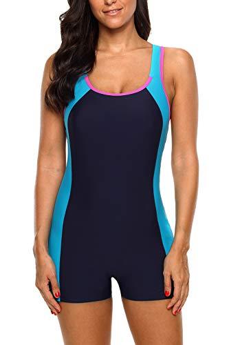 CharmLeaks Women Athletic Swimsuits Sports One Piece Bathing Suit Boyshort Blue XL