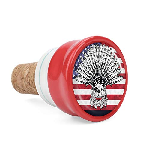 American French Bulldog On USA Flag Wine Cork Wine Bottle Stoppers Ceramic Plug for Wine Lover Gifts, Bar, Kitchen, Holiday Party, Wedding - Keep Wine Fresh