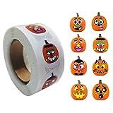 PEPENE 500 pegatinas/rollo de calabaza de Halloween, pegatinas adhesivas de expresión lindas para...
