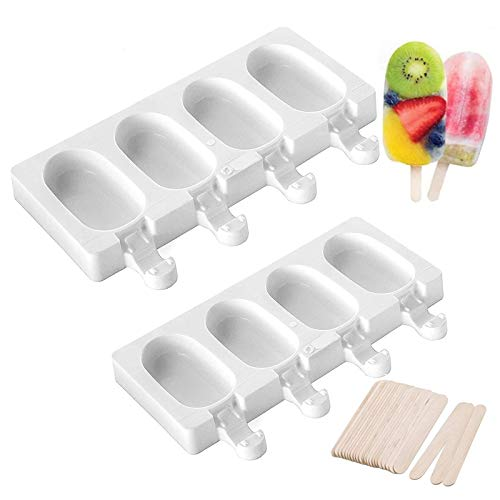 Pop Ice Lolly Mould 2 Stück Ice Cream Bar Mold Eisformen Silikonform Silikon Gefrorene Eisform Lollies Makers 4 Cavity Mit 50 Holzstielen Diy Frozen Dessert Eisformen Für Kinder Erwachsene