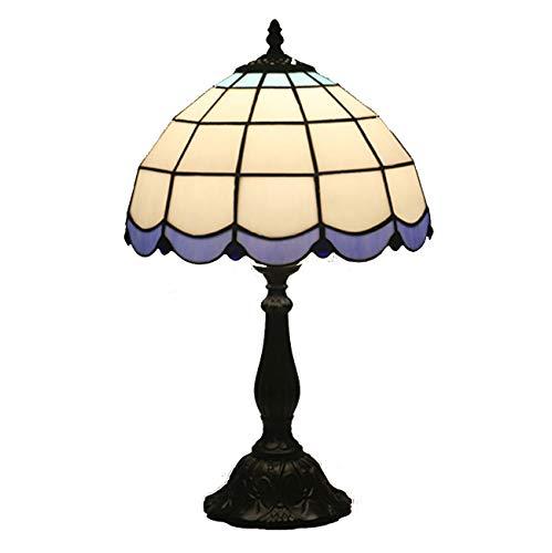 Yjmgrowing tafellamp in Tiffany-stijl, 12 inch, lampenkap van gekleurd glas, nachtkastje, commode, voor decoratieve accenten van de slaapkamer, E27,110-220 V