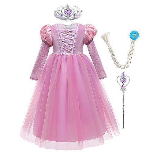 IMEKIS Disfraz de princesa Rapunzel Sofa de manga larga para nias, disfraz de carnaval y cosplay con accesorios para fiesta de cumpleaos