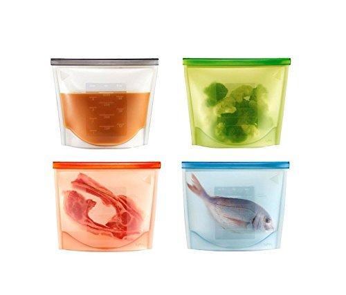4 Paquete Bolsa Comida Reutilizable Silicona Comida