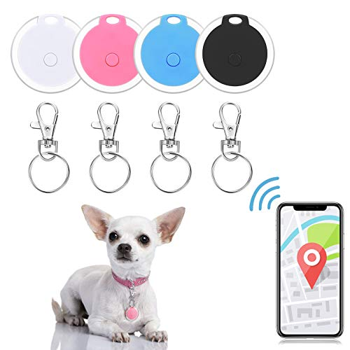 4 Pieces Smart Key Finder Item Locator with 4 Pieces Keychains, Bluetooth Tracker for Kids Pets Keychain Anti-Lost Tag Alarm Reminder Selfie Shutter APP Control for Smartphone