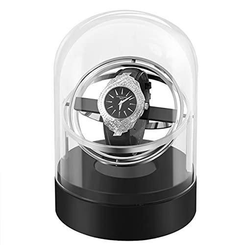 Automatische Uhrenbeweger Box Single Uhrenbeweger Mit Leisem Motor Planetarium-Design Glasabdeckung 360°-Anzeige 4 Drehmodis Uhrenaufbewahrungsvitrine (Color : Silver)