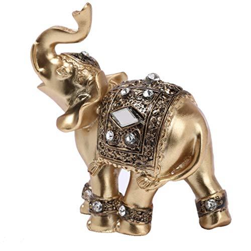 IMIKEYA Elefanten Deko-Figur Golden Kunstharz Elefanten Statuen Reichtum Lucky Figuren Home Decor Geschenk - S