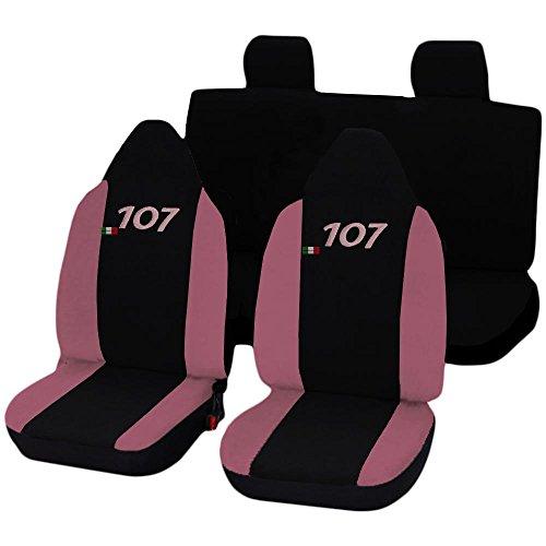 Peugeot 107 tweekleurige stoelhoezen (zwart - roze) vrouwelijke lijn