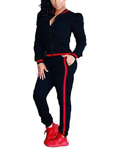 Casual Long Sleeve Zip Up Jacket and Pants Sweatsuits Tracksuits 2 Pieces outfits for Ladies,Black,Tag XL/US(12-14)