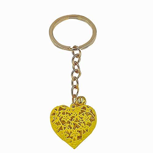 weichuang Llavero moderno con forma de corazón hueco en 3D, de metal, de bronce, con colgante de oro romántico y moderno (color: 3)