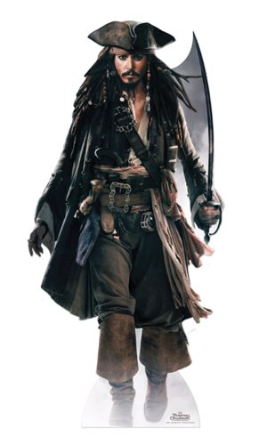 Pappaufsteller Jack Sparrow - Fluch der Karibik Aufsteller Standup Figur Kinoaufsteller Pappfigur Cardboard Lebensgroß Life-Size Standup