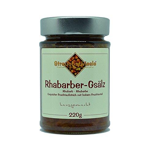 Streuobstwiesle Rhabarber-Gsälz - 220 g - Exquisiter Rhabarber Fruchtaufstrich - Marmelade, Konfitüre - mit hohem Fruchtanteil
