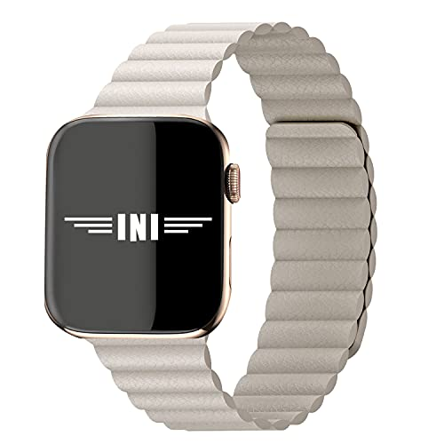 INI Compatible with Apple Watch Band 40mm 38mm - Enhanced Adjustable Leather Strap with Magnetic Closure System for iWatch Series SE/6/5/4/3/2/1 - Tan