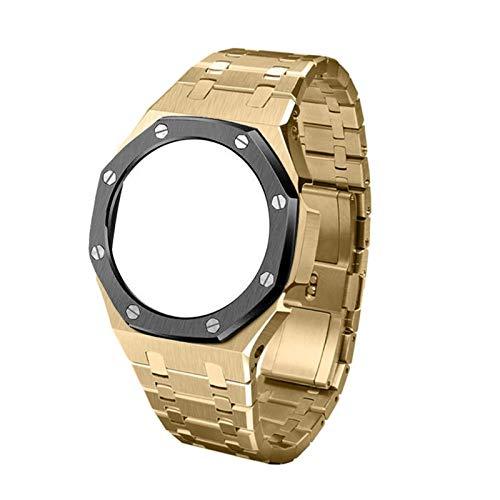 KAAGGF 3ª generación GA2100 Correa de reloj de metal GA2110 Bisel para reloj Casio G Shock GA-2100 Accesorios de repuesto para relojes de hombre (color de la correa: dorado negro)