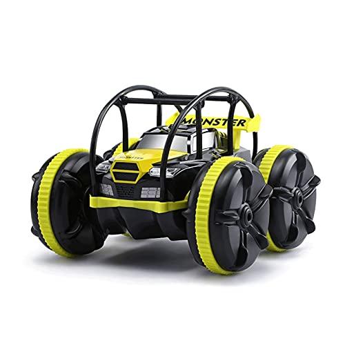 Barco de control de control remoto impermeable con luz LED 2.4GHz Vehículo de Amphibiojo Amphibioso Recargable 4WD All Terrain Stunt Monster Truck Modelo Hobby Coches de juguete para adultos Boys & Gi
