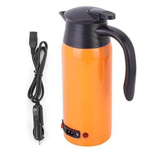 Powerlift Electric Kettle-Safe and reliable stainless steel Car Smart Kettle with non-slip handle suitable for coffee, eggs, instant noodles(orange)