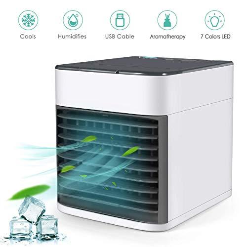 3 in 1 Mobile klimageräte,Mini Persönliche Klimaanlage Leise Luftkühler Air Cooler Ventilator USB Klimaanlage Klein Luftreiniger 3 Geschwindigkeiten mit Licht für Zuhause und Büro