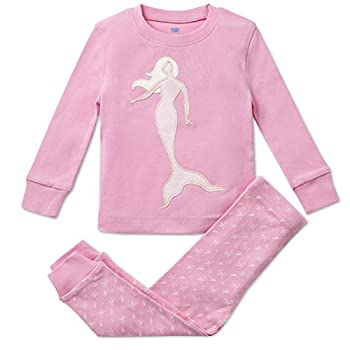 Bluenido Girls Pajamas Mermaid 2 Piece 100% Super Soft Cotton (12m-8y)
