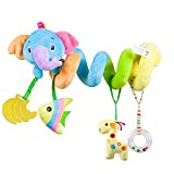 Caterbee Car Seat Toys, Baby Activity Spiral Plush Stroller bar Toy Accessories, Crib Toys with Bell for boy or Girl, Hangings Rattle Toy (Blue-Elephant)