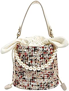 TOOGOO Fashion Pearl Lady Round Material Crossbody Bucket Bag Lady Leather Handbag Shoulder Messenger Bag White