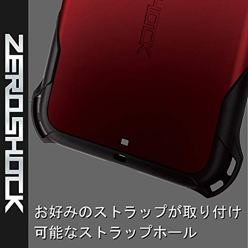 エレコムiPhone11ケースZEROSHOCK耐衝撃[落下時の衝撃から本体を衝撃吸収構造(衝撃吸収フィルム付)]ストラップホール付きレッドPM-A19CZERORD
