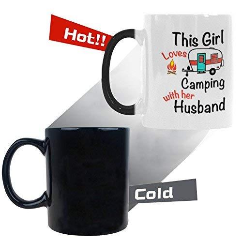 Queen54ferna Juego de tazas Morphing para parejas, de 325 ml, con texto en inglés «This Girl Loves Camping», taza de café de cerámica que cambia al calor, para cumpleaños, boda