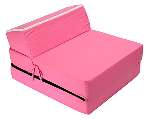 Best For Kids Kindersessel Bettsessel Funktionssessel Jugend Kindermatratze zum schlafen und Spielen 3 in 1 (Pink)