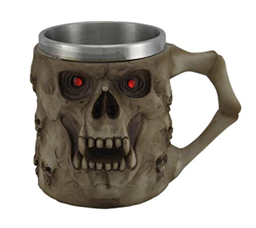 Fantasy Gifts Crafts and Arts 2733 Skulls Tankard with Red Eyes Becher, Polyresin, Metall, mehrfarbig