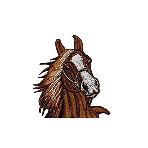 Lumanuby. 1X Parche de Bordado Pegatinas de Tela para Coser Decorar Prendas de Ropa por Ejemplo Vaqueros, Bolsa, Sombrero, Zapatos o para Hacer Manualidades Size 9 * 10cm (Caballo marrón)