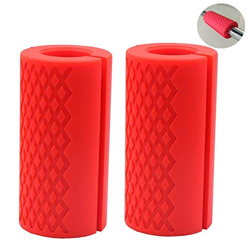 IADU Weightlifting Bar Grips,Barbell Thick Bar Fat Grips Standard Dumbbell Handles Stress Relieve Pair Alpha Grip Hand Protector Pull up Tape Arm Blaster Adapter for Sports Workout Ergonomic (Red).
