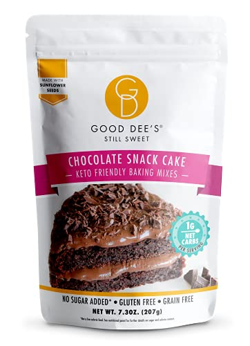 Good Dees Low Carb Baking Mix, Chocolate Snack Cake Baking Mix, Keto Baking Mix, No Sugar Added, Gluten Free, Grain-Free, Soy-Free, Nut-Free, Diabetic, Atkins & WW Free (1g Net Carbs, 12 Serving)