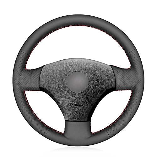 MPOQZI Cubierta del Volante del Coche de Cuero Negro Cosido a Mano, Apto para Volkswagen Bora 2001 2002 2003 2004 2005