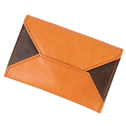 [アルベロ] 名刺入れ カードケース 革 4391 LYON リヨンシリーズ ユニセックス オレンジ×チョコ AL-4391-40
