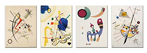 LuxHomeDecor Cuadros Kandinsky 4 piezas 40 x 30 cm Impresión sobre lienzo con marco de madera Arte decoración