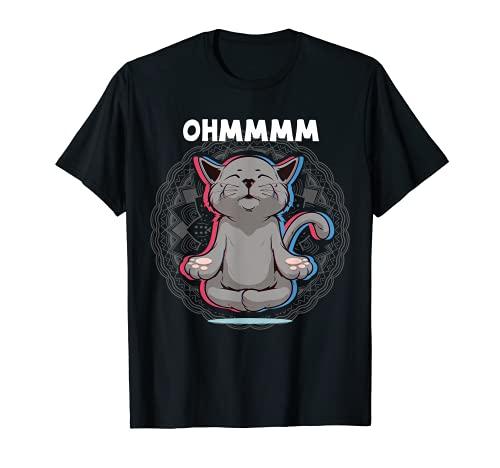 Ohmmm Yoga Katzen Meditation Entspannung Om Namaste New Age T-Shirt