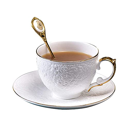 HJUYV-ERT Coffee Cups Bone China Water Cup Milk Cup Hanging Ear Coffee Cup Saucer Set With Spoon Latte Espresso Garland Cup Suitable for Home Office Cafe