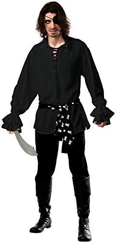 Rubie's Costume Co Men's Cotton Black Pirate Shirt, Black, X-Large