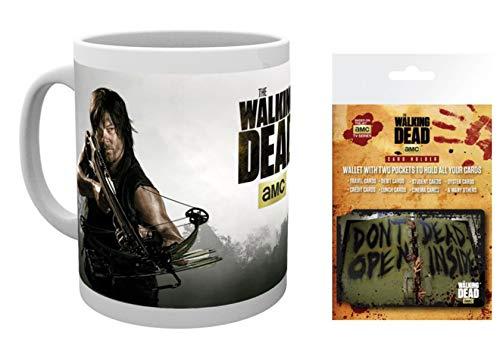 1art1 The Walking Dead, Daryl Dixon Foto-Tasse Kaffeetasse (9x8 cm) Inklusive 1 The Walking Dead EC-Kartenhülle Kartenetui Für Fans Und Sammler (10x7 cm)