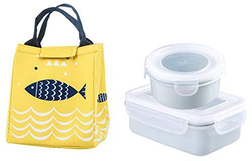 Santwo Bento Lunch Box 2 Pezzi a Tenuta stagna + Borsa Termica Impermeabile Impermeabile, Ideale per Il Pranzo Scolastico dei Bambini e Il Pranzo di Lavoro per Adulti (Giallo)