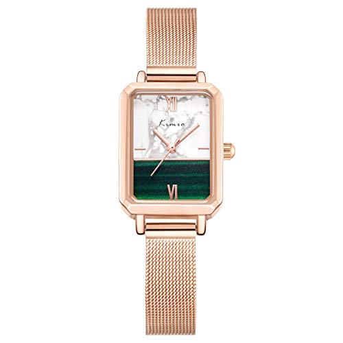 Kimio K6413 Uhr Damen 30M wasserdicht Date Casual Modische Mesh Armband Pink Gold Rectangler Face Damenuhr (3)