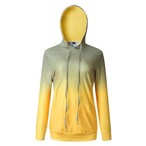 Sczz Hoodie Damen Pullover Damen Elegant Farbverlauf Bequemer Lässiger Kapuzenpullover Neues 2020 Herbst Winter Tether Mode Damen Bequem Lässiges Sweatshirt A-Yellow L