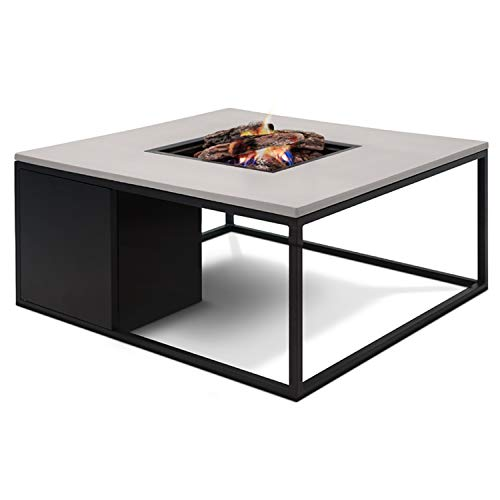 CosiLoft 100 Lounge Table Fire Pit with Black Frame and a Grey Top