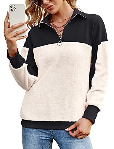 Femme Automne Hiver Chaud Peluche Hoodie Veste Pull Sweat-Shirt Demi Zippé Longues Pullover Sweatshirt à Manches(Beige Noir, XXL)